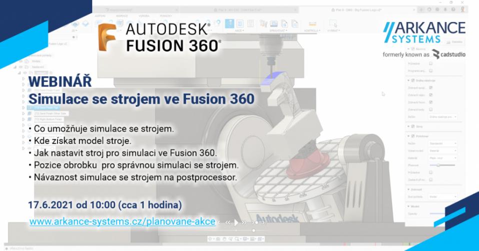 Online školení - Simulace se strojem ve Fusion 360 - přístup k záznamu přednášky